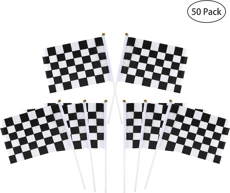 Banderas de Carrera a Cuadros de mano de palo con Palos de Plástico 8,5 x 5,9 pulgadas 50 piezas Banderas del coche para artículos de decoración para fiestas, blanco y negro