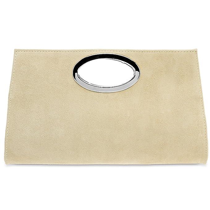 CASPAR TL699 Bolso de Mano Fiesta para Mujer/XXL Clutch Grande de Piel de Ante, Color:beige claro