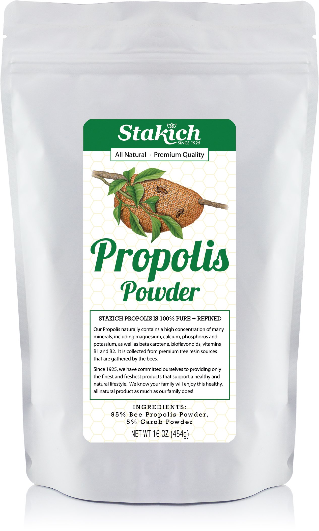 Stakich Bee Propolis Powder with 5% Carob - Pure, Natural- 1 Pound (16 Ounce)