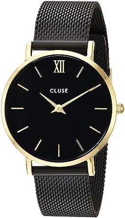1d88a01e2e81a Amazon.com  CLUSE Minuit Mesh Gold Black Black CL30026 Women s Watch ...