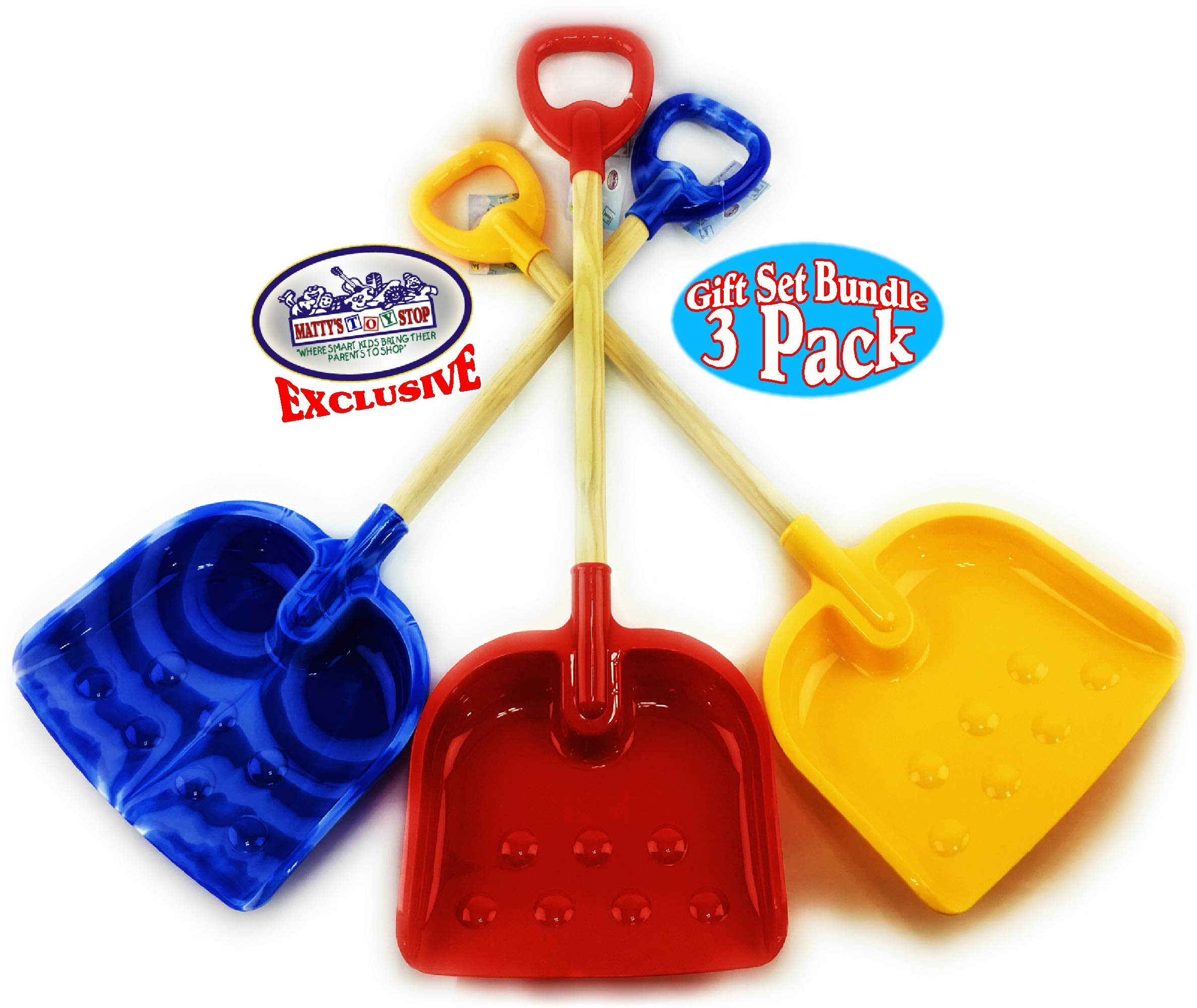 Matty's Toy Stop 28'' Heavy Duty Wooden Snow Shovels with Plastic Scoop & Handle for Kids Red, Yellow & Blue Swirl Gift Set Bundle - 3 Pack by Matty's Toy Stop