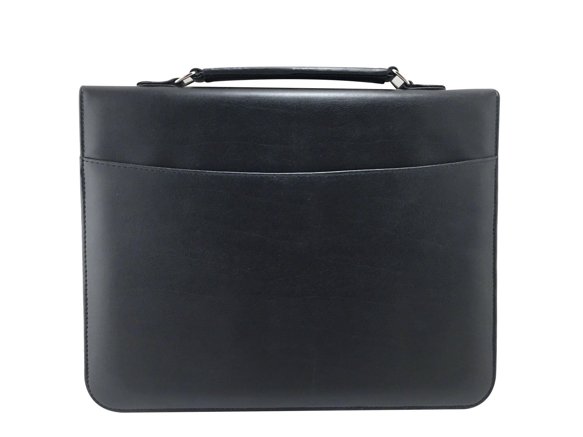 MSP Portfolio Organizer with Metal Hinge Handle, 3 Ring Binders, Binder Pockets (045) (Black)