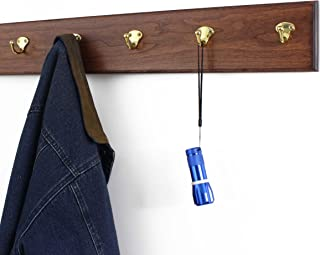 "product image for Cherry Coat Rack with Solid Brass Single Style Hooks 4.5"" Ultra Wide (Mahogany, 25.5"" x 4.5"" with 5 Hooks)"