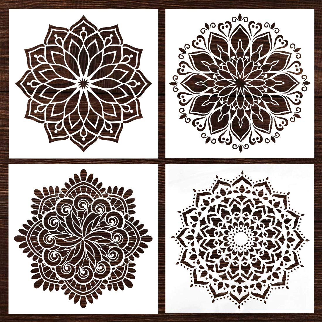Mandala Wall Wood Furniture Canvas Tile Fabric Painting Stencil, fit for Home DIY Decor, Large Size Paint Stencils, Reusable (12x12 Inch,4pcs) by ATHPIK