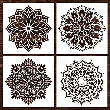 Mandala Wall Wood Furniture Canvas Tile Fabric Painting Stencil Fit For Home Diy Decor Large Size Paint Stencils Reusable 12x12 Inch 4pcs