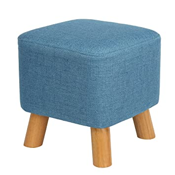 Charmant Eshow Padded Footstools Ottoman Foot Rest With Wooden Legs Linen Fabric  Cover Blue