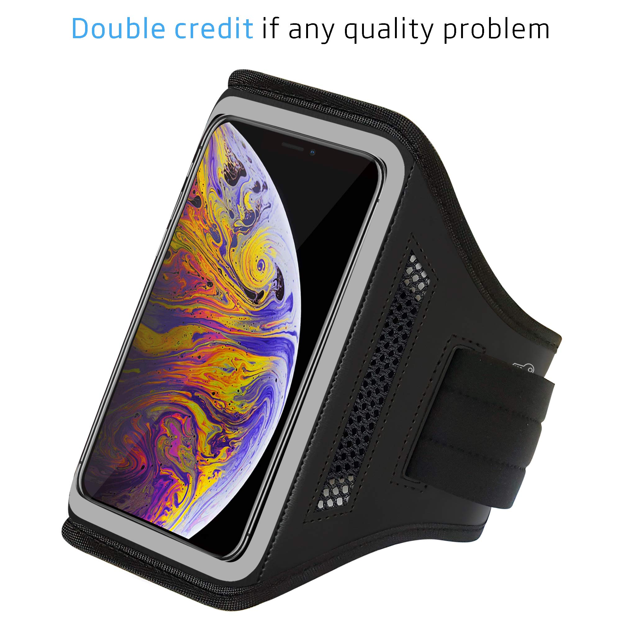 LOVPHONE Armband for iPhone iPhone Xs Max, Waterproof Sport Outdoor Gym Running Key Holder Card Slot Phone Case Bag Armband (Gray)