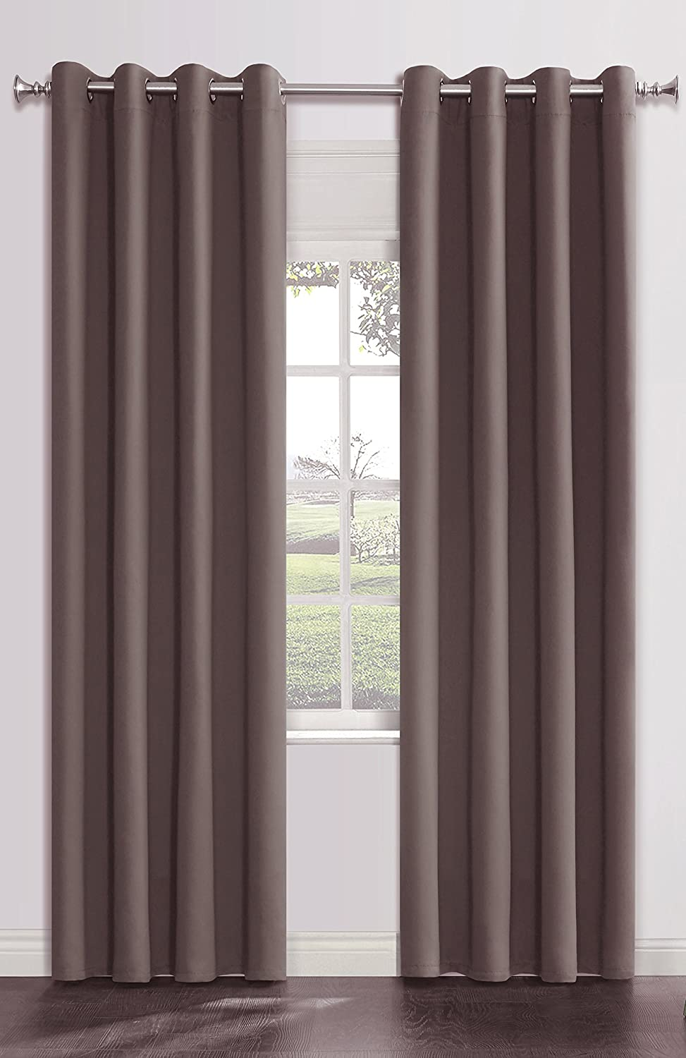 Onlyyou Window Grommet Thermal Blackout Curtains Drapes, Room Curtain Panels, 1 Pair, 52 x 84 Inch, Dark Brown Grey