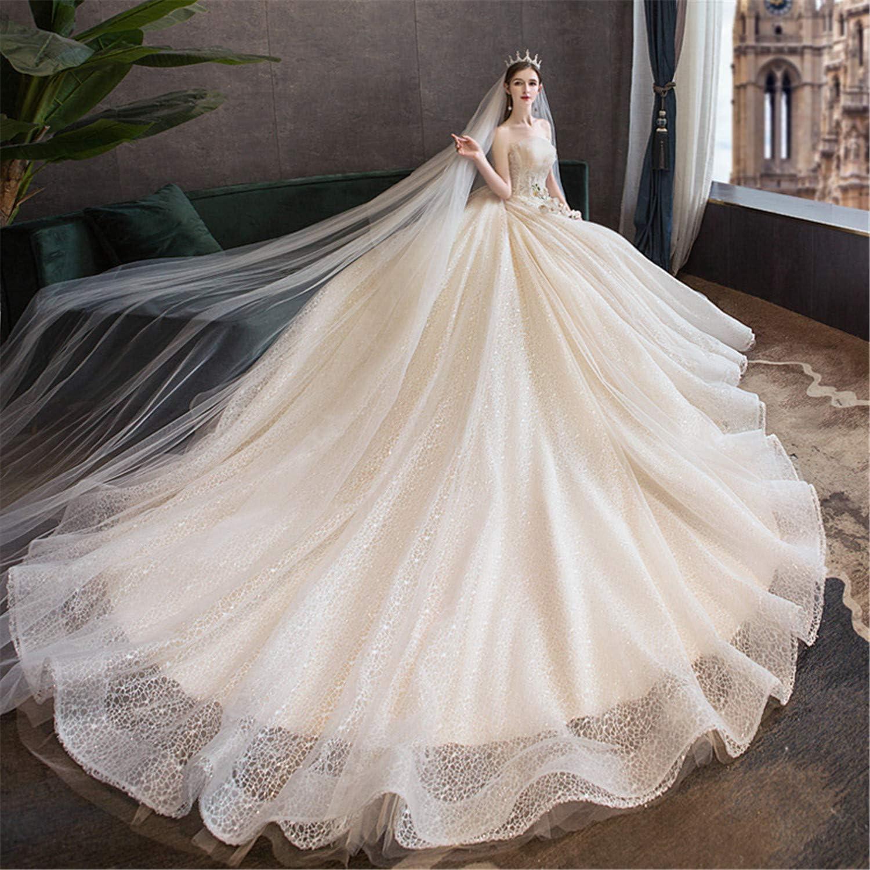 Amazon Com Zzhs Trailing Tulle Wedding Dresses Applique A Line