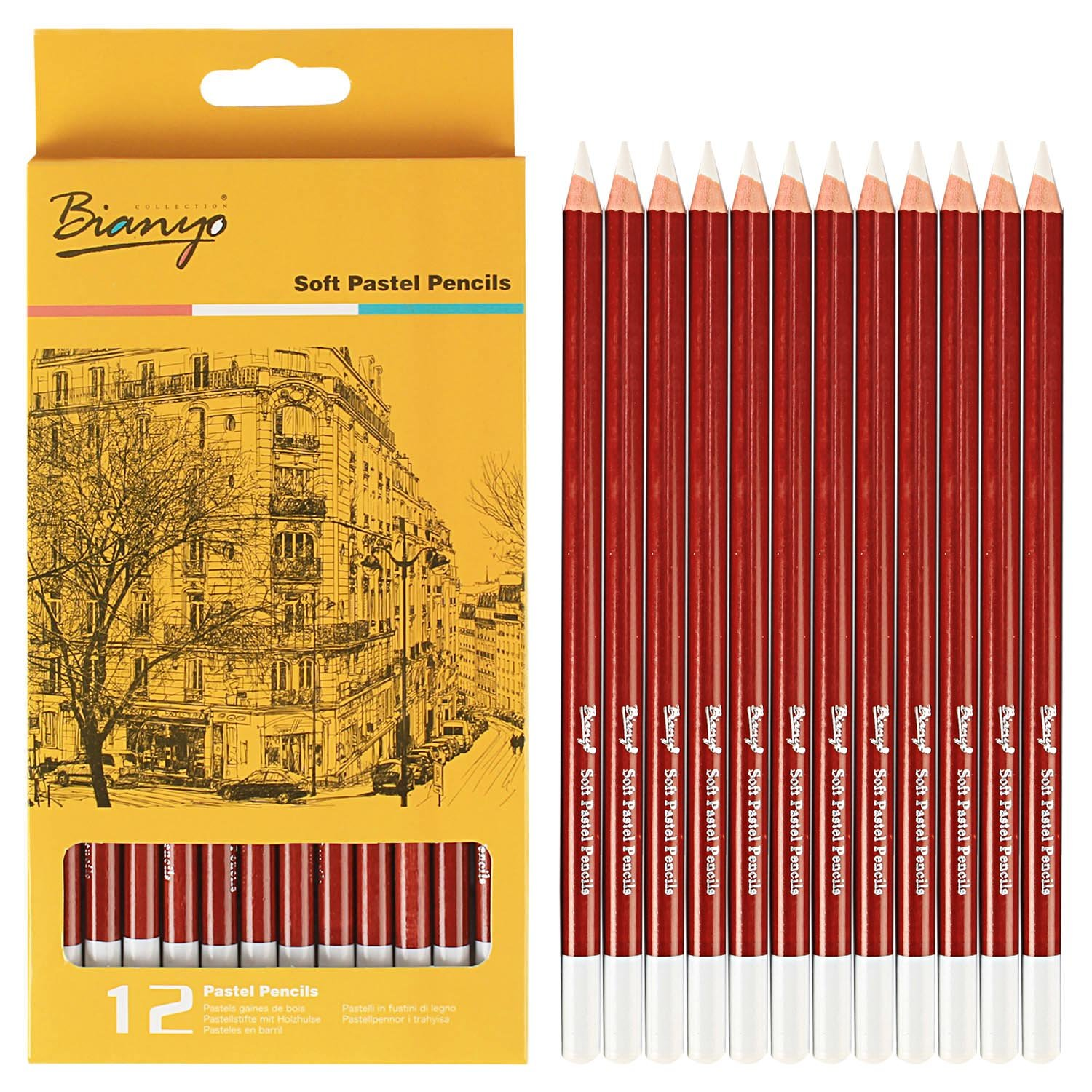 Bianyo white soft pastel pencil set for art drawing sketching 12 pcs white amazon in home kitchen