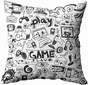 TOMKEY Throw Pillow Cases, Hidden Zippered 16X16Inch Computer Games Doodles Decorative Throw Cotton Pillow Case Cushion Cover for Home Decor,Black White 4