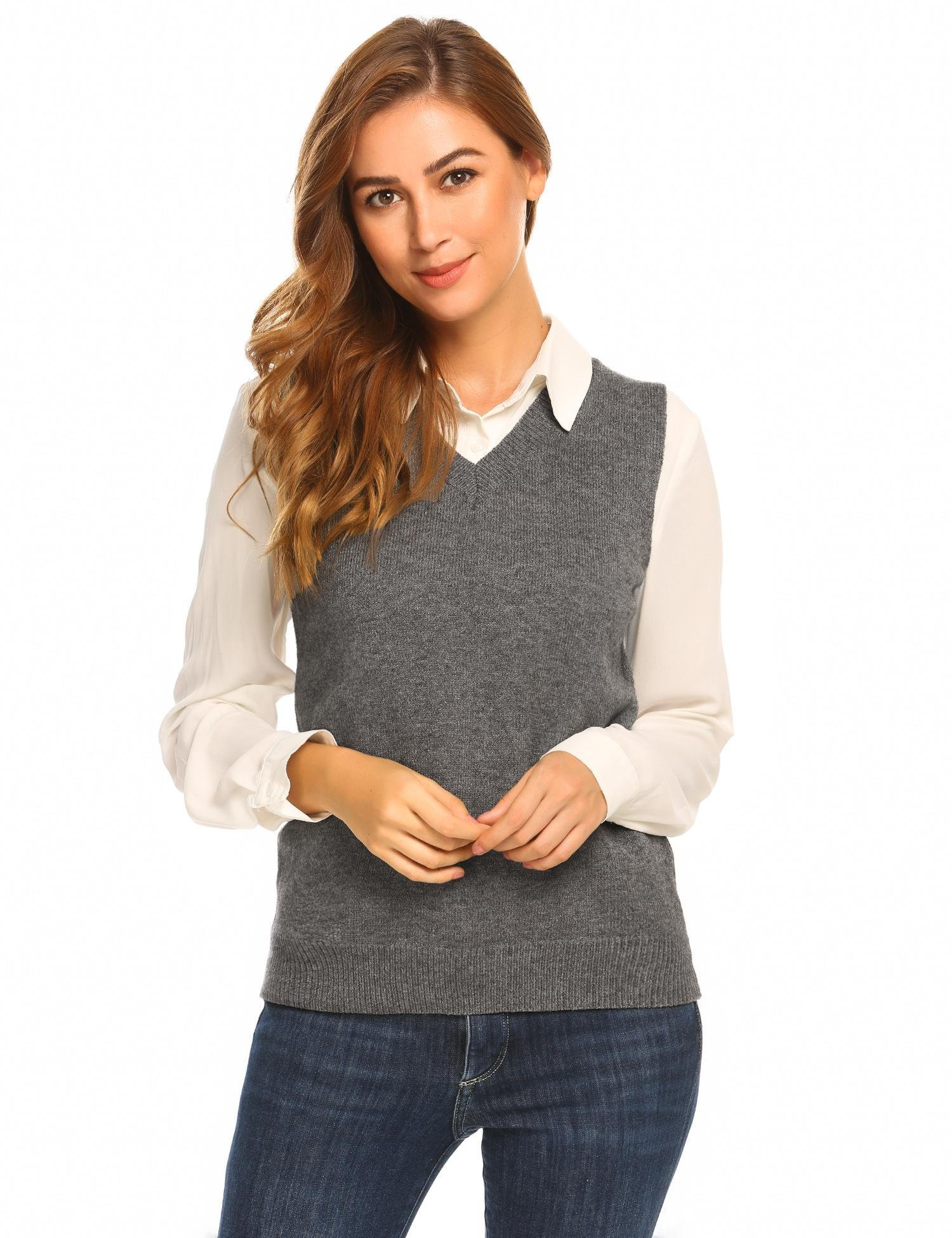 Bifast Women's Short Sleeve Knitted Pullover Loose V Neck Sweater Casual Jumper Tops Gray,L