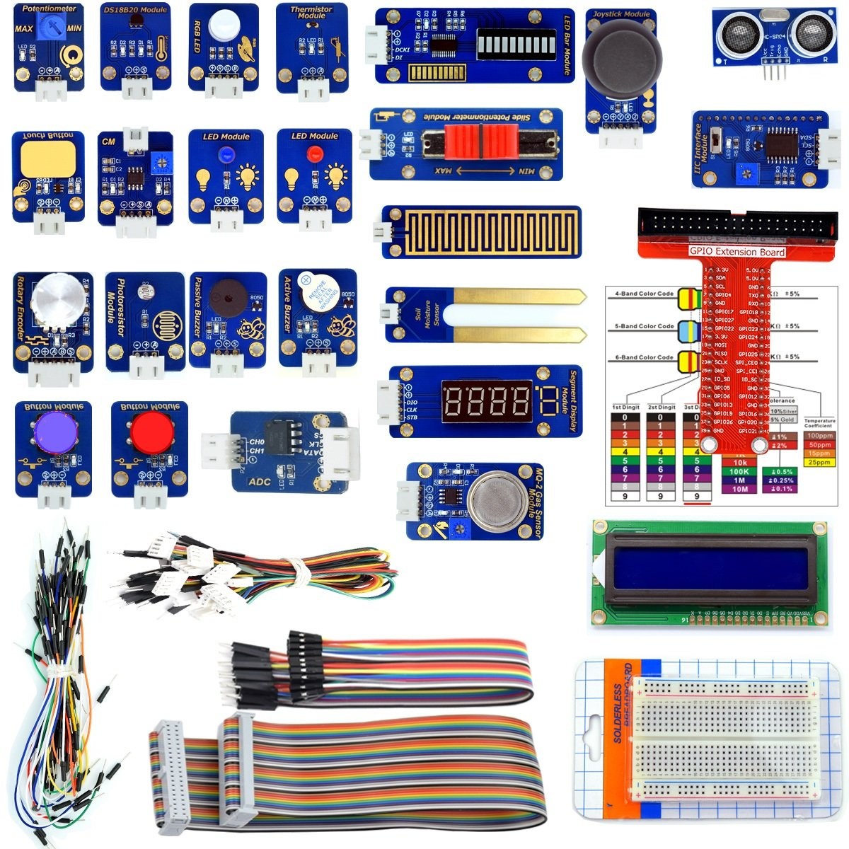 Adeept 24 Modules Sensor Kit For Raspberry Pi 3 2 B Ds18b20 Wiringpi I2c Robot Projects Starter With Tutorials C And Python Code 95 Pages Pdf Guidebook