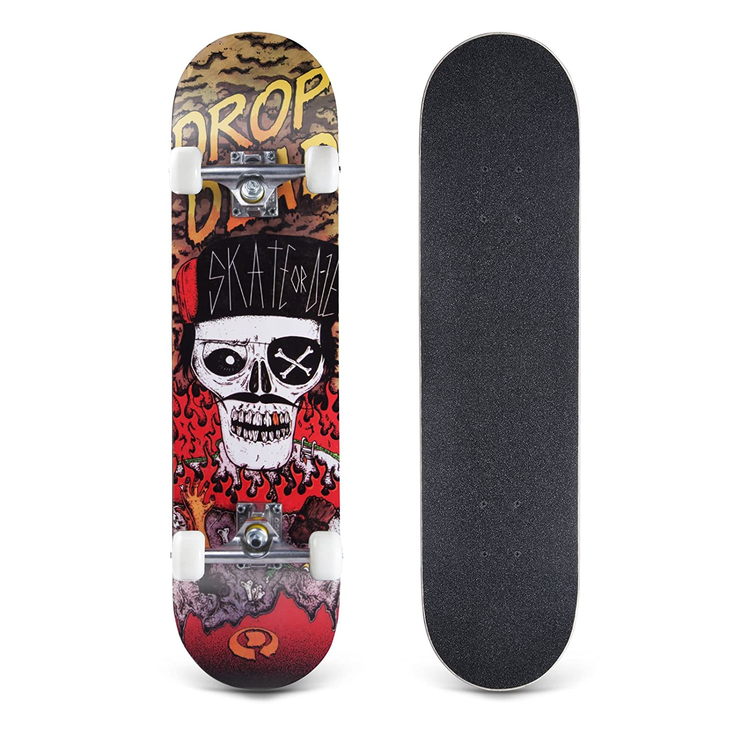 Bormart Skateboards 31 Inch Pro Complete Standard Skateboard 8 Layer Maple  Skateboard Deck for Extreme Sports Outdoors Durable Skate Board for