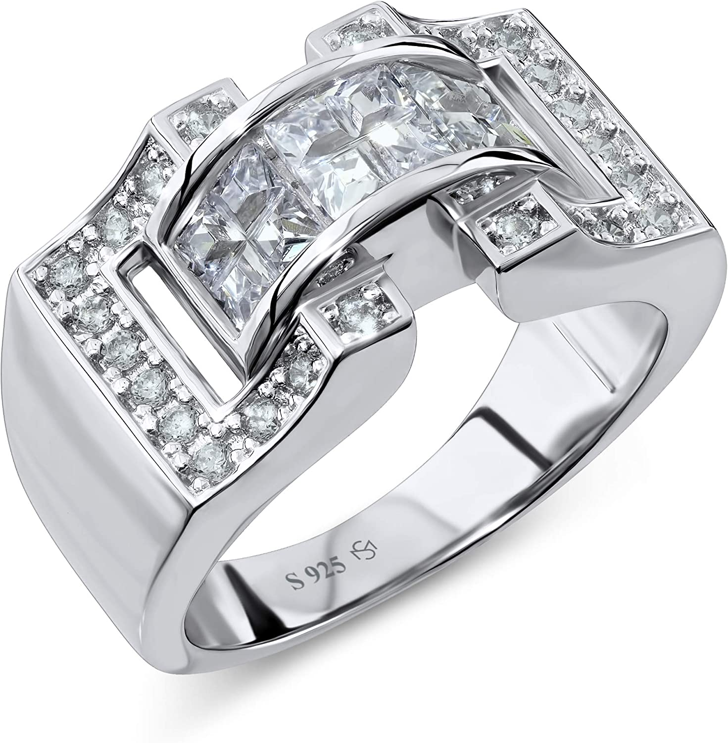 [2-5 Days Delivery] Men's Sterling Silver .925 Ring Featuring 27 Prong-set and Channel-set Cubic Zirconia (CZ) Stones