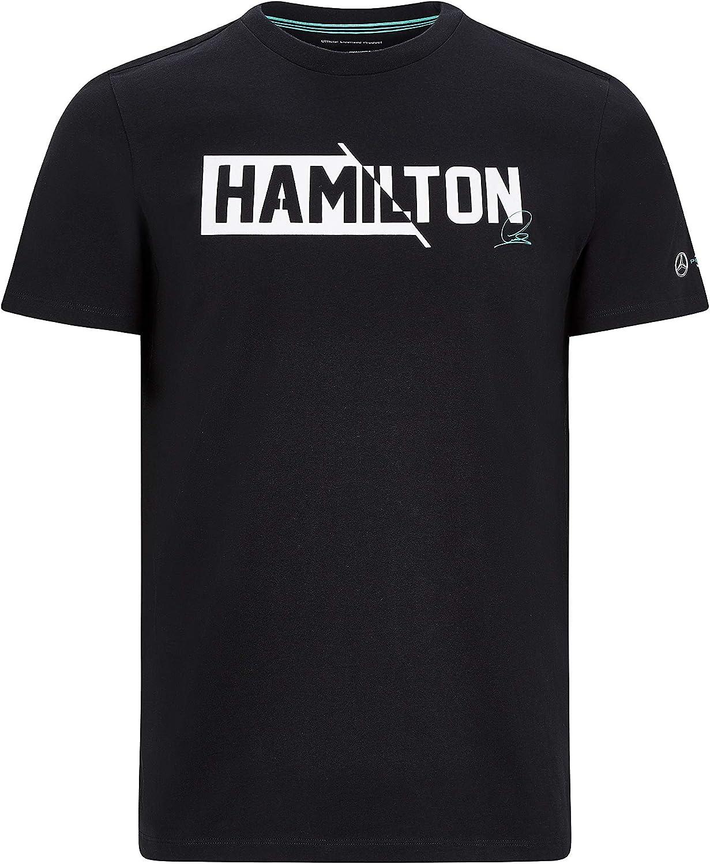 Mercedes Benz AMG Petronas F1 T-shirt pour homme Lewis Hamilton #44 Noir//blanc
