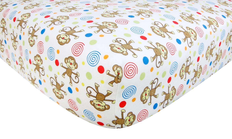 Trend Lab Flannel Crib Sheet, Monkey Print 101324