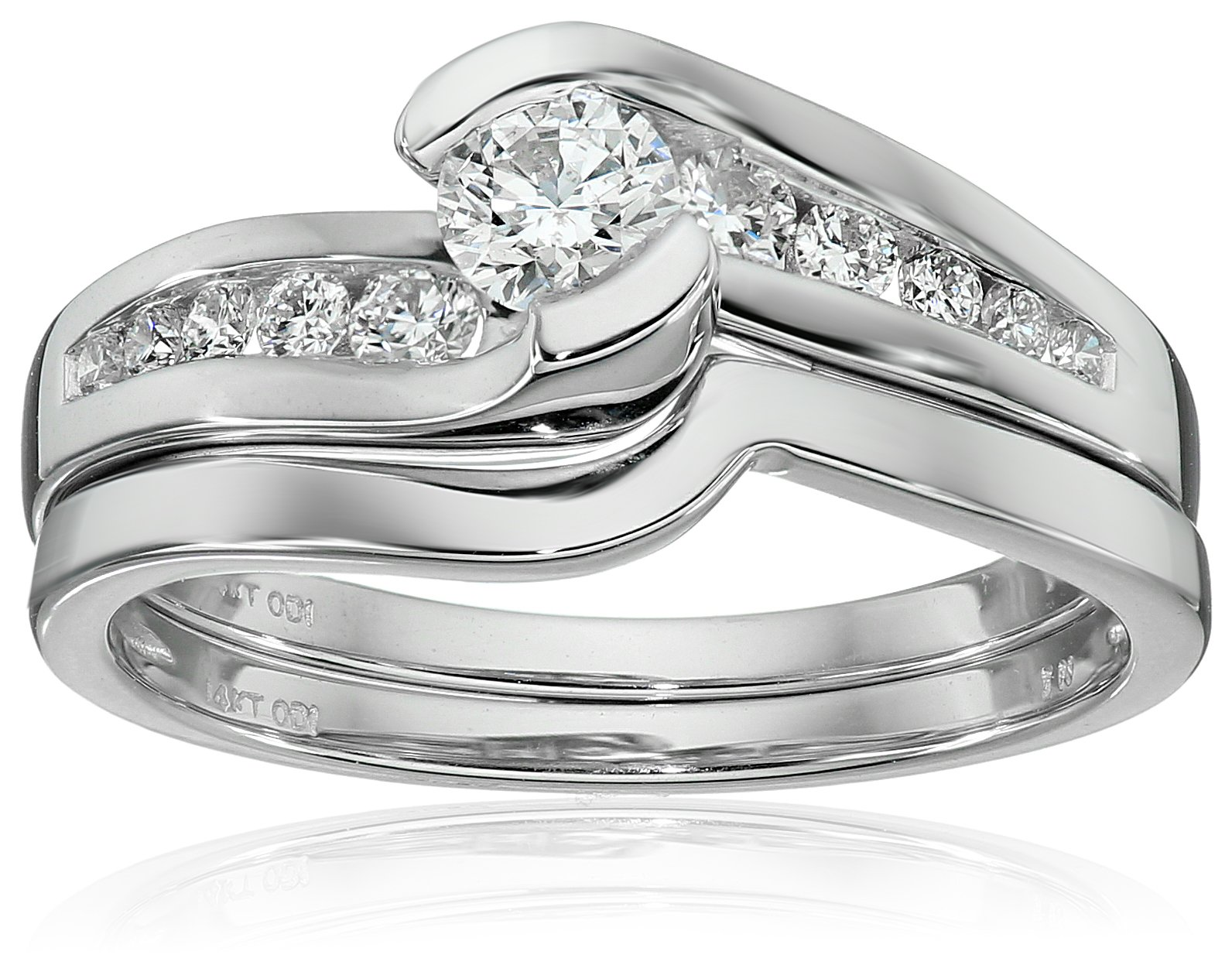 IGI Certified 14k White Gold Diamond Channel Bridal Wedding Ring Set (5/8 cttw, H-I Color, I1-I2 Clarity), Size 7 by Amazon Collection