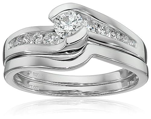 IGI Certified 14k White Gold Diamond Channel Bridal Wedding Ring Set (5/8 cttw, H-I Color, I1-I2 Clarity)