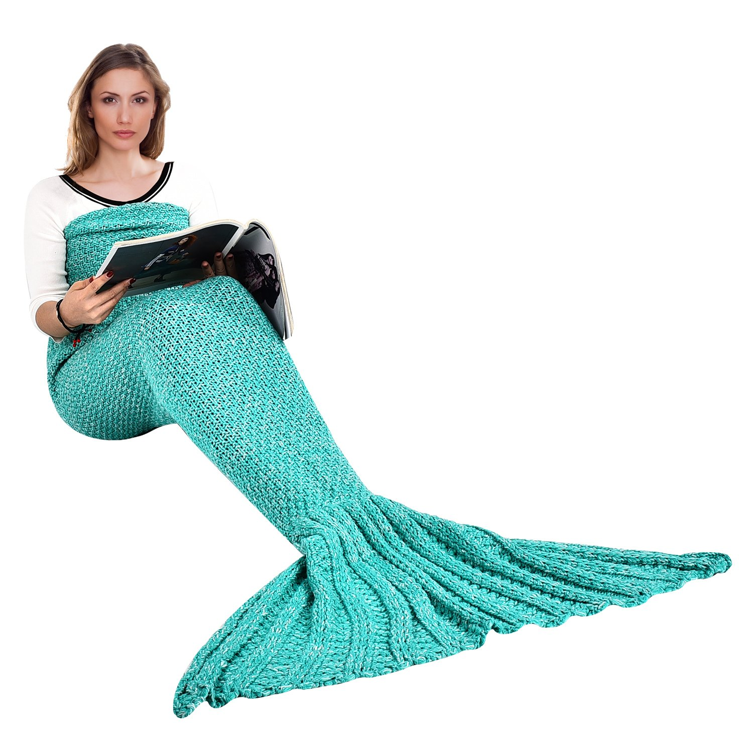 iBaby888 Wearable Mermaid Tail Blanket Crochet, All Seasons Warm Knitted Bed Blanket Sofa Quilt Living Room Sleeping Bag for Kids and Adults, Big Tail, 70.9'' x 35.5'' (180 x 90cm), Green by iBaby888