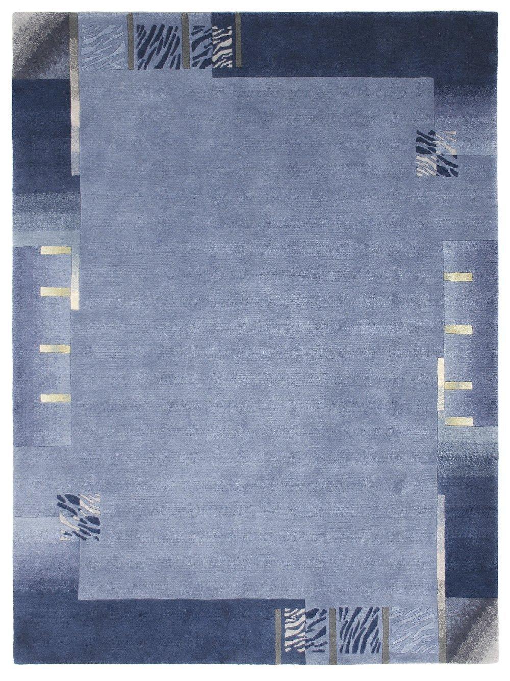 Luxor Living Nepal Teppich handgeknüpft blau