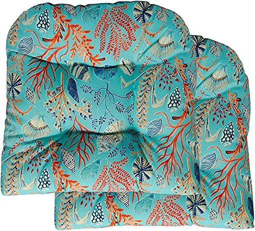 RSH D cor Set of 2 Large 21 x 21 Wicker Tufted Seat Cushions Sun Dream Coastal Ocean Beach Tropical Blue, Peach, White, Cream, Orange, Coral, Red Ocean Life Coastal Coral Reef