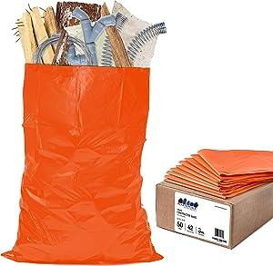 Plasticplace 42 Gallon Trash Bags │ 3.0 Mil │Orange Heavy Duty Contractor Trash Bags │ 33