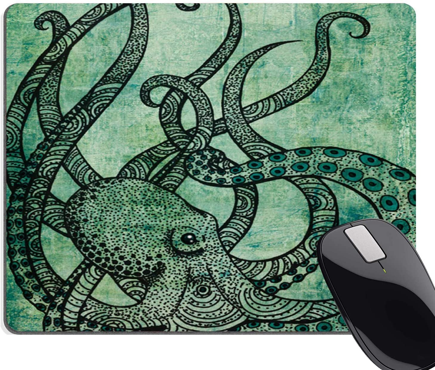 Octopus Round Mouse Pad Color Printed Mousepad Round Non-Slip Rubber Mouse Pad