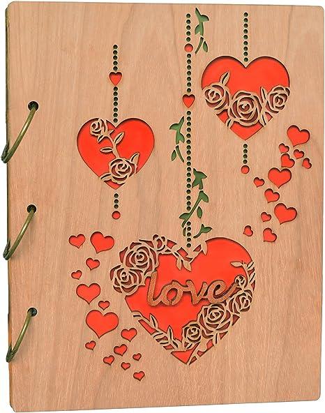 Amazon Com Petaflop 5x7 Photo Album Wood Photo Albums 120 Photos Wedding Gift Heart And Love Design Home Kitchen