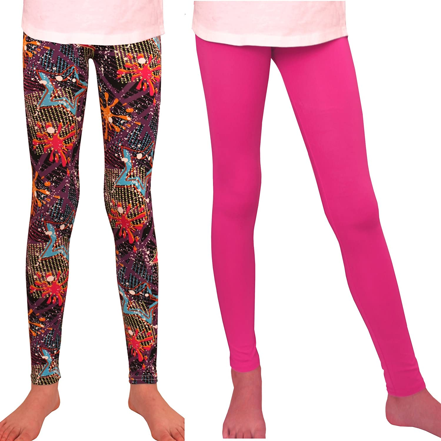 Syleia Girl Leggings 2 Pairs Star /& Solid Pink Great Stretch Age 4-12