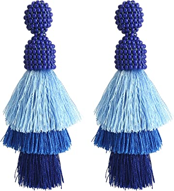 blue statement tassel earrings for women