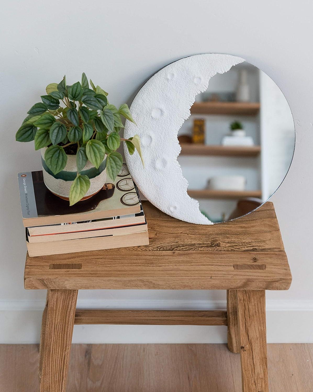 "FABDecor 12"" Moon Mirror | Crescent Moon Mirror | Moon Shaped Mirror | Boho Mirror | Eclectic Decor for Living Room Decor, Bedroom Decor, Dorm Room Decor, Yoga Decor etc. (100% Real Glass)"