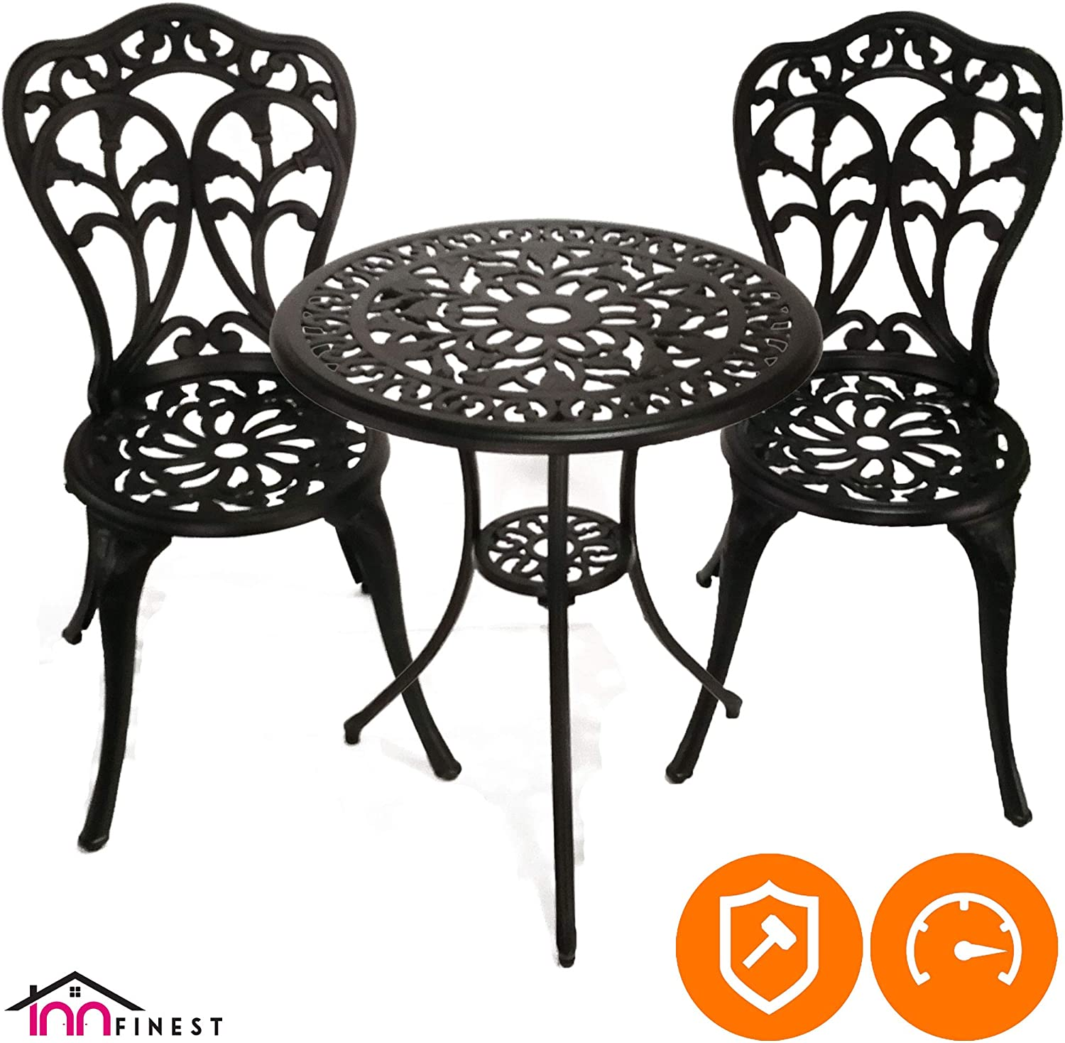 InnFinest 3-Piece Patio Bistro Dining Set – Cast Aluminum Table and Chairs – Outdoor Furniture Tulip Design – with Umbrella Hole – Ergonomic Rust-Resistant – for Porch Backyard Garden Balcony Black