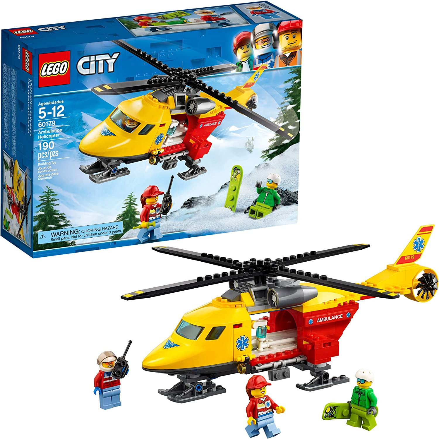 LEGO City Ambulance Helicopter 60179 Building Kit, New 2019 (190 Pieces)