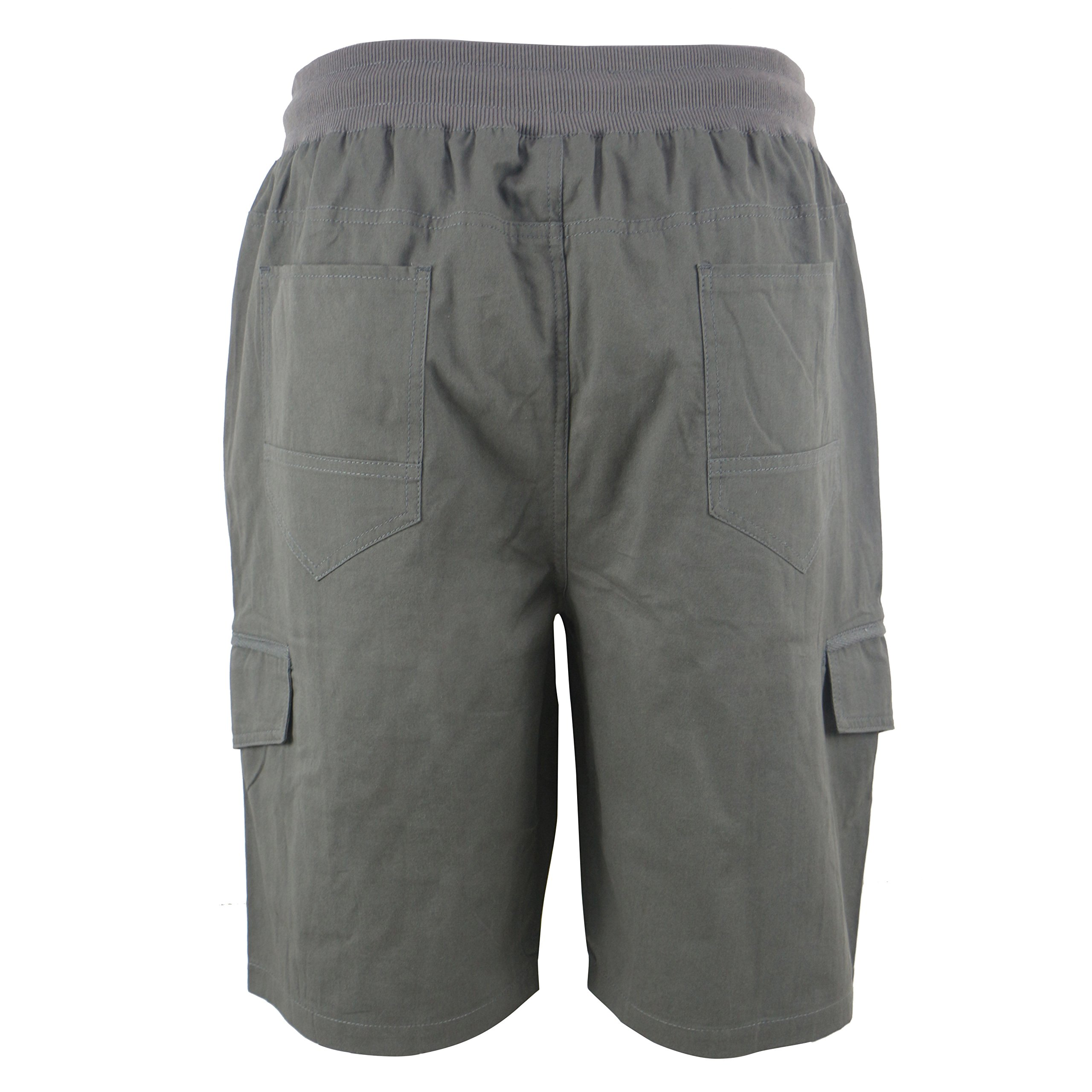 Tanbridge Men's Cotton Cargo Shorts with Pockets Loose Fit Outdoor Wear Twill Elastic Waist Shorts Grey 36 by Tanbridge (Image #3)