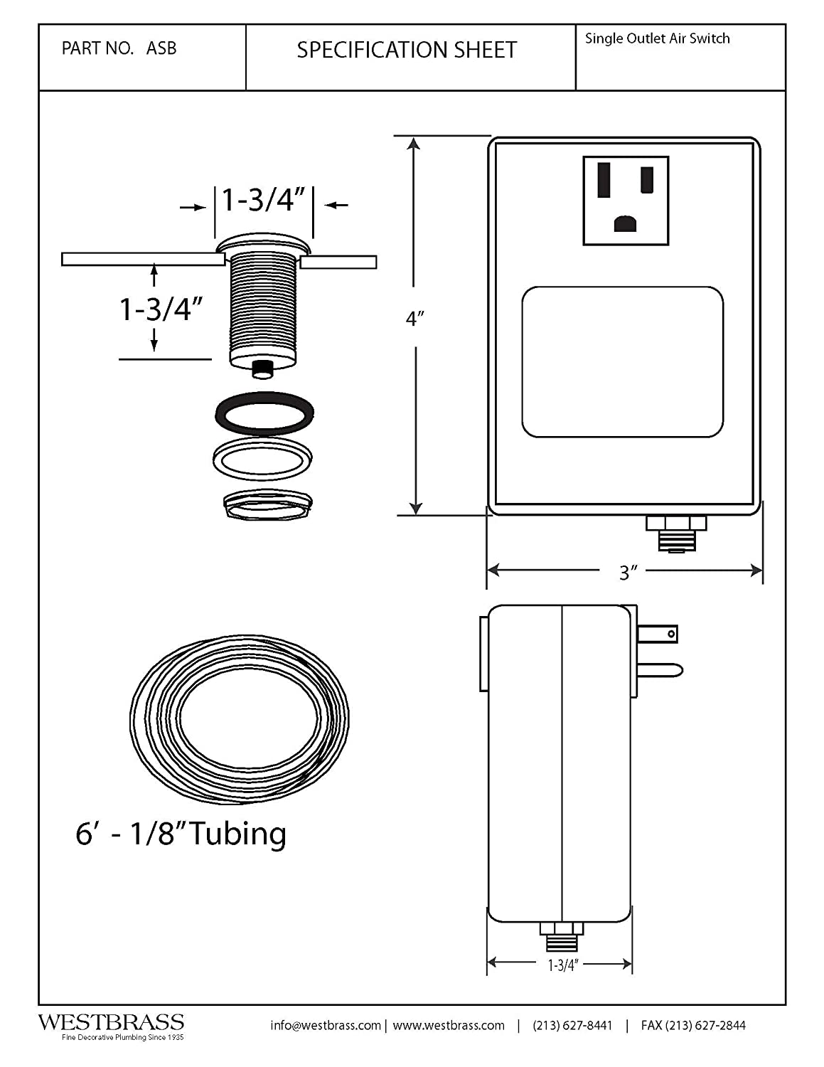 Hansen P4 Level Switch Wiring Diagram Free Download Air Westbrass Disposal And Single Outlet Control Box Electric Actuator At