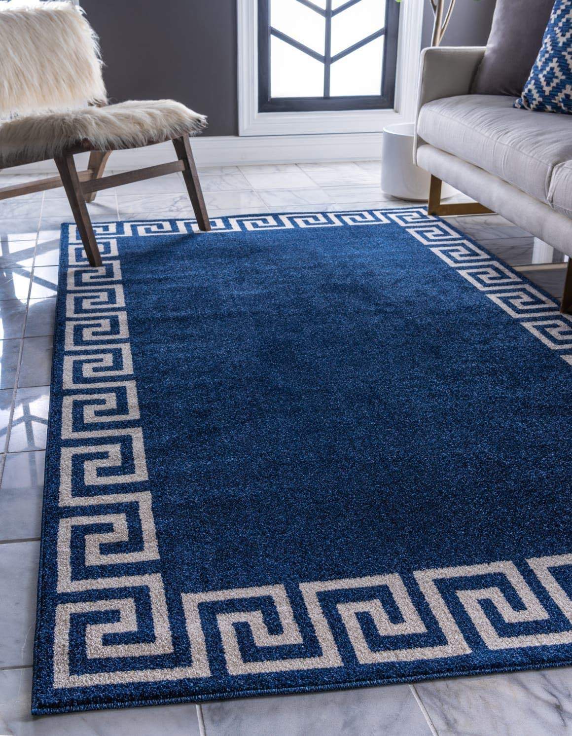 Unique Loom Athens Collection Geometric Casual Modern Border Navy Blue Area Rug 9 0 x 12 0