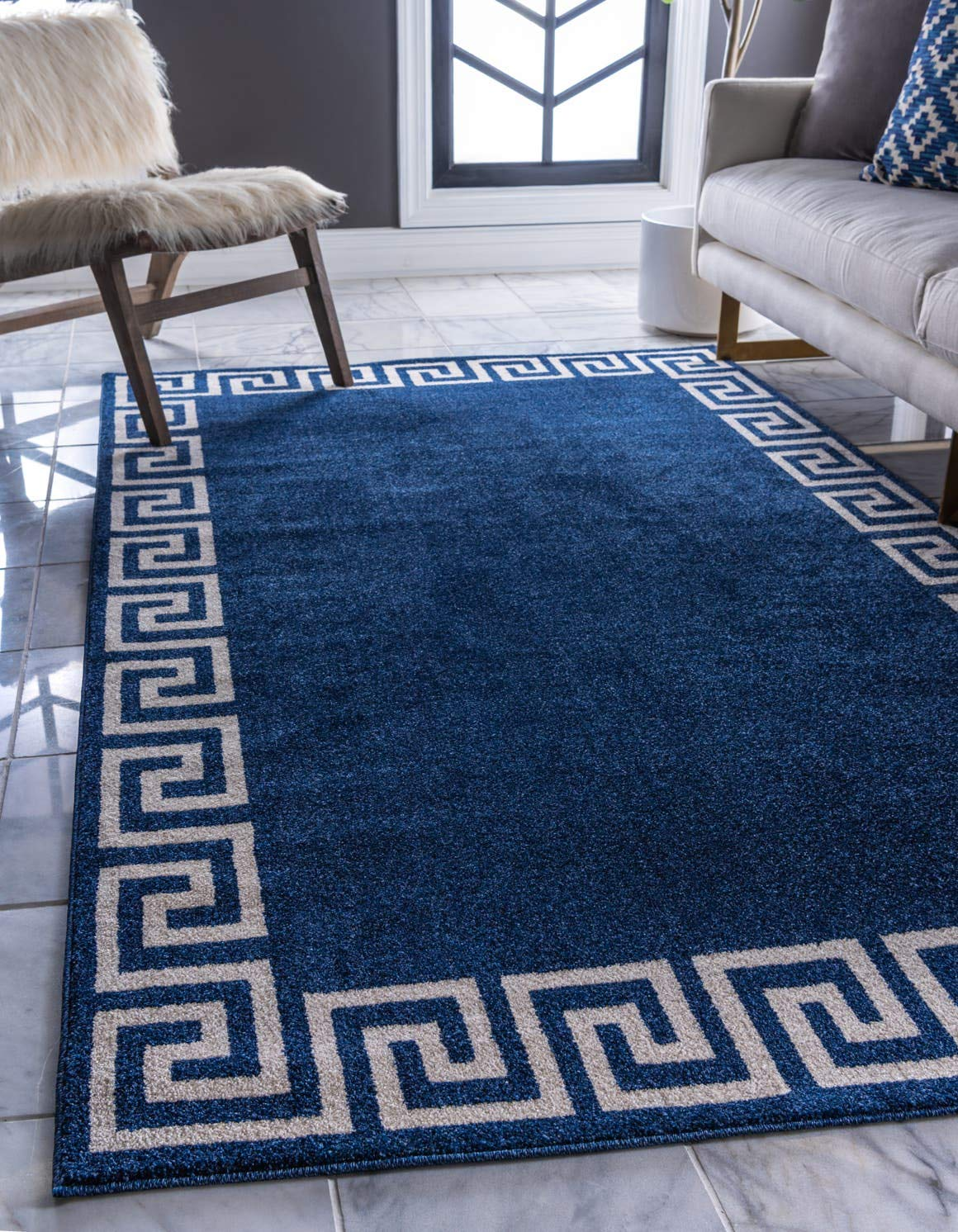 Unique Loom Athens Collection Geometric Casual Modern Border Navy Blue Area Rug 6 0 x 9 0