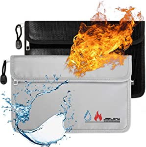 JARLINK 2 Pack Fireproof Waterproof Bags, 10.6x6.9 inches Fireproof Safe Money Storage Pouch Double Protect with Zipper, Hook and Loop Fastener for Cash, Passport, Valuables, Jewelry, (Black & Silver)