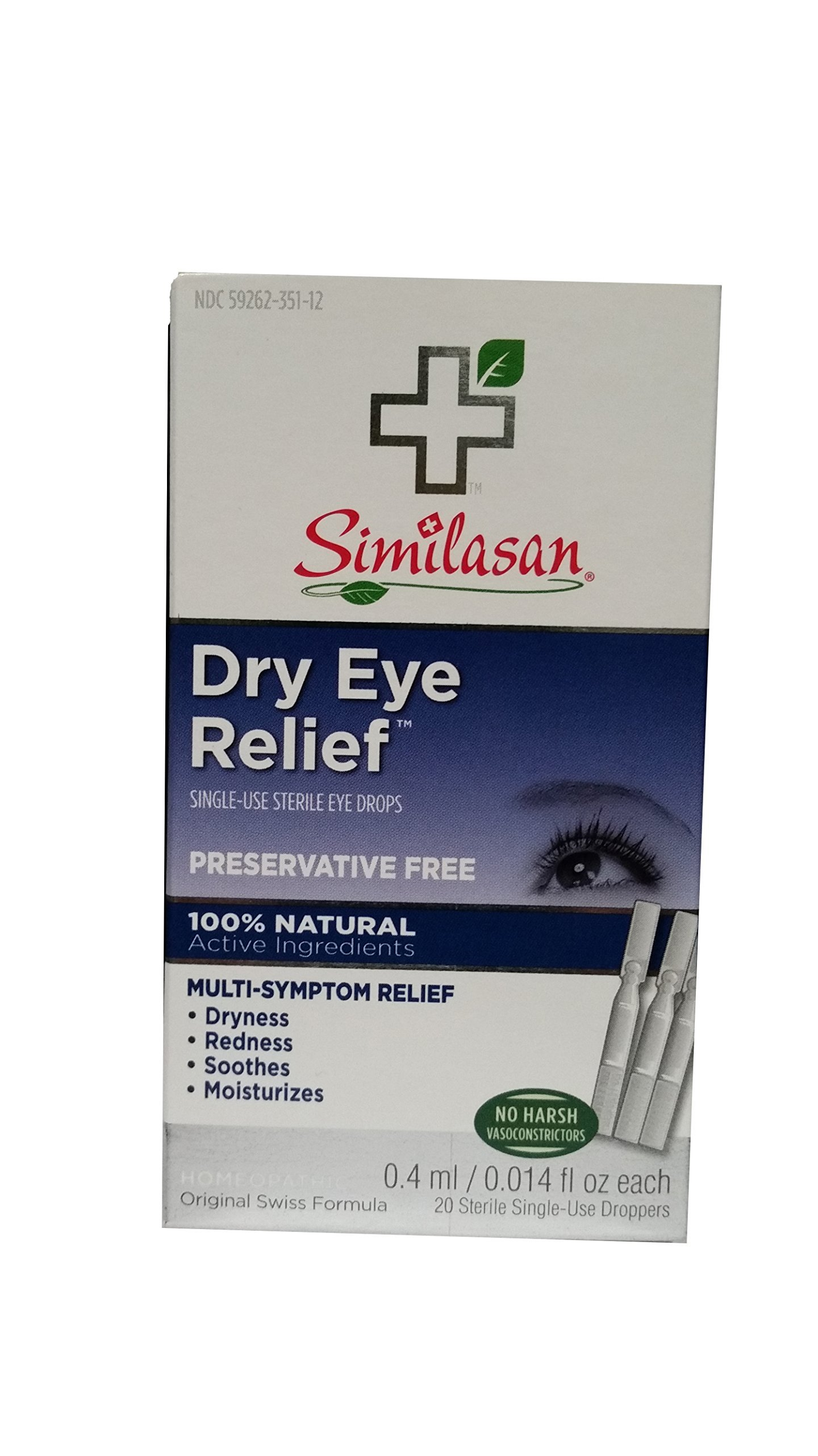 Similasan Preservative-Free Dry Eye Relief Eye Drops.014-Ounce Single-Use Droppers in 20-Count Boxes (Pack of 2)