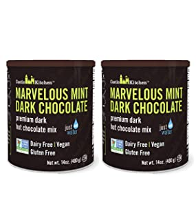 Castle Kitchen Marvelous Mint Dark Chocolate - Dairy-Free, Vegan Premium Hot Chocolate Mix - Just Add Water - 14 oz (Pack of 2)