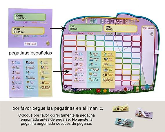 Yoyoboko Original Ele-Fun Star Chart (Spanish) | Magnetic Chore Chart for Kids, Behavior Chart for Multiple Kids + 3 Markers + Storage Bag | 16.3 x ...