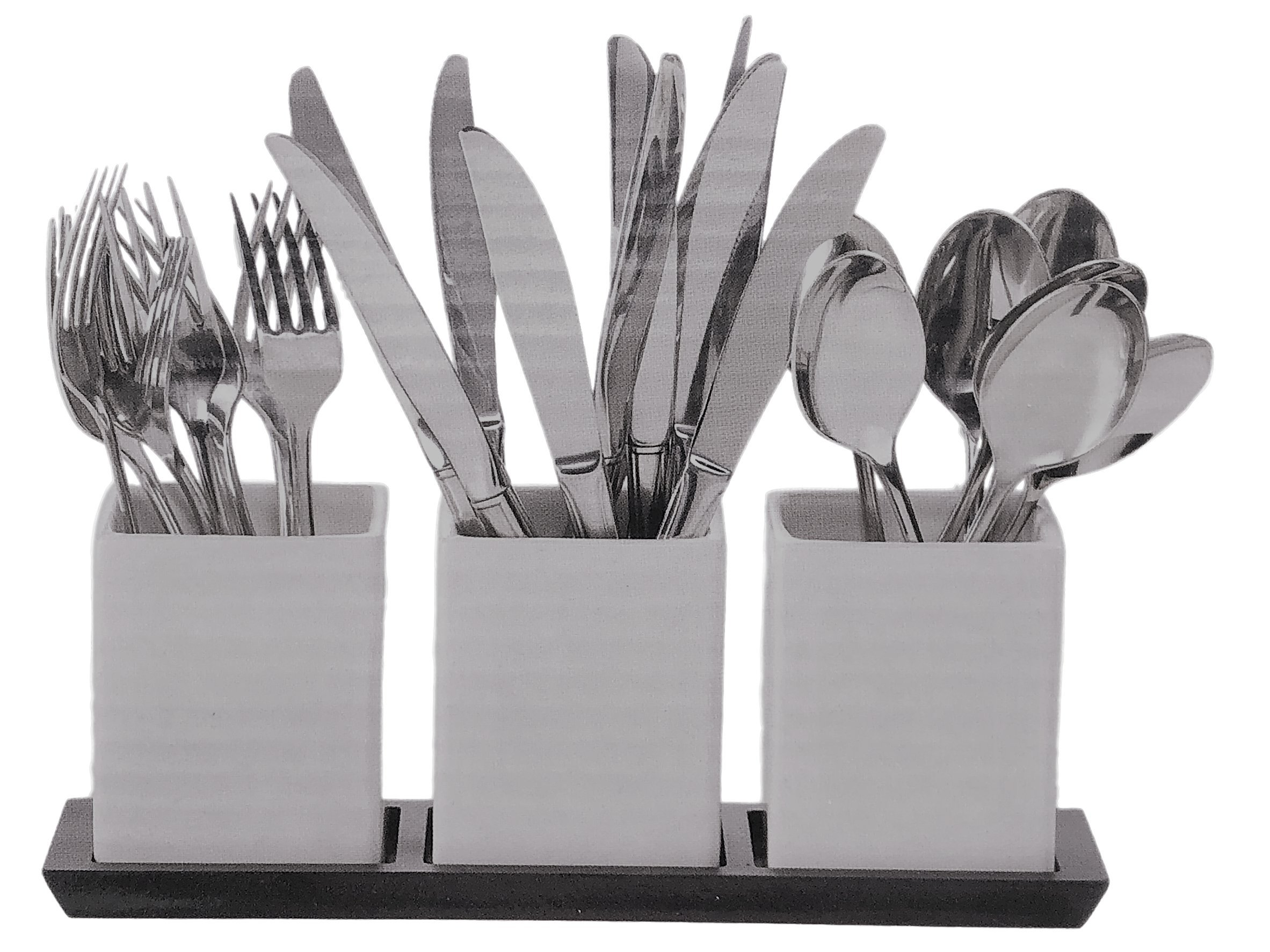 Cobble Creek (4 piece) Ceramic Utensil Caddy Set for Home Party Pantry Organization and Storage.