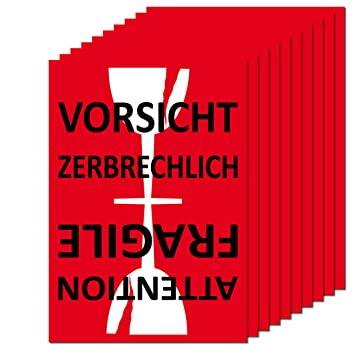 Aufkleber Sticker Etiketten Label Vorsicht Glas Zerbrechlich Attention Fragile Versand Umzug Paket 10