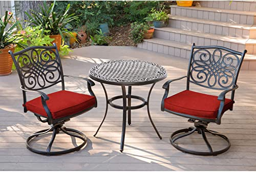 Hanover TRADDN3PCSW-RED Traditions 3 Piece Bistro Set