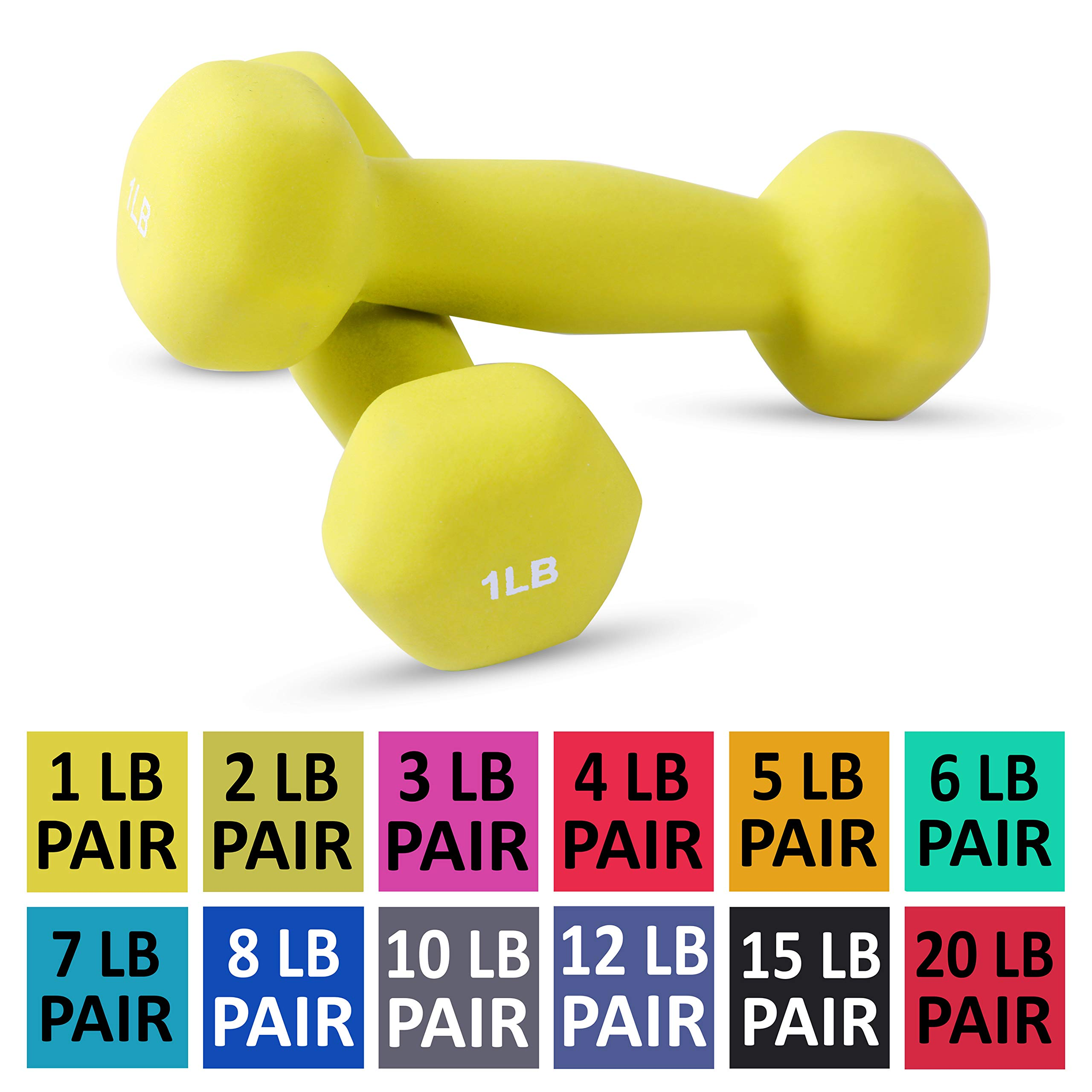 Neoprene Dumbbell Pairs by Day 1 Fitness - 1 Pound - Non-Slip, Hexagon Shape, Color Coded, Easy To Read Hand Weights for Muscle Toning, Strength Building, Weight Loss by Day 1 Fitness