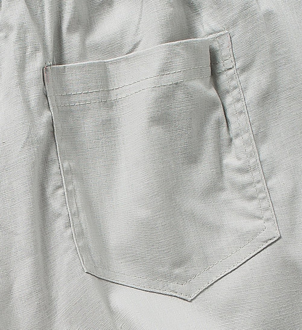 SIR7 Men's Linen Casual Lightweight Drawstrintg Elastic Waist Summer Beach Pants Light Grey 2L by SIR7 (Image #6)