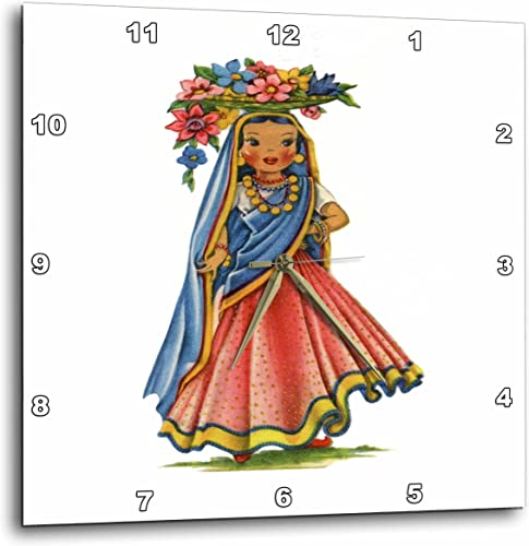 3dRose Print of Retro Doll from India – Wall Clock, 10 by 10-Inch DPP_204605_1
