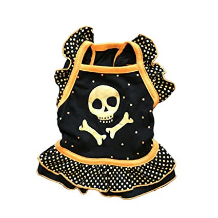 Amazoncom Ryshman Halloween Puppies Skeleton Dress Lotus Leaf