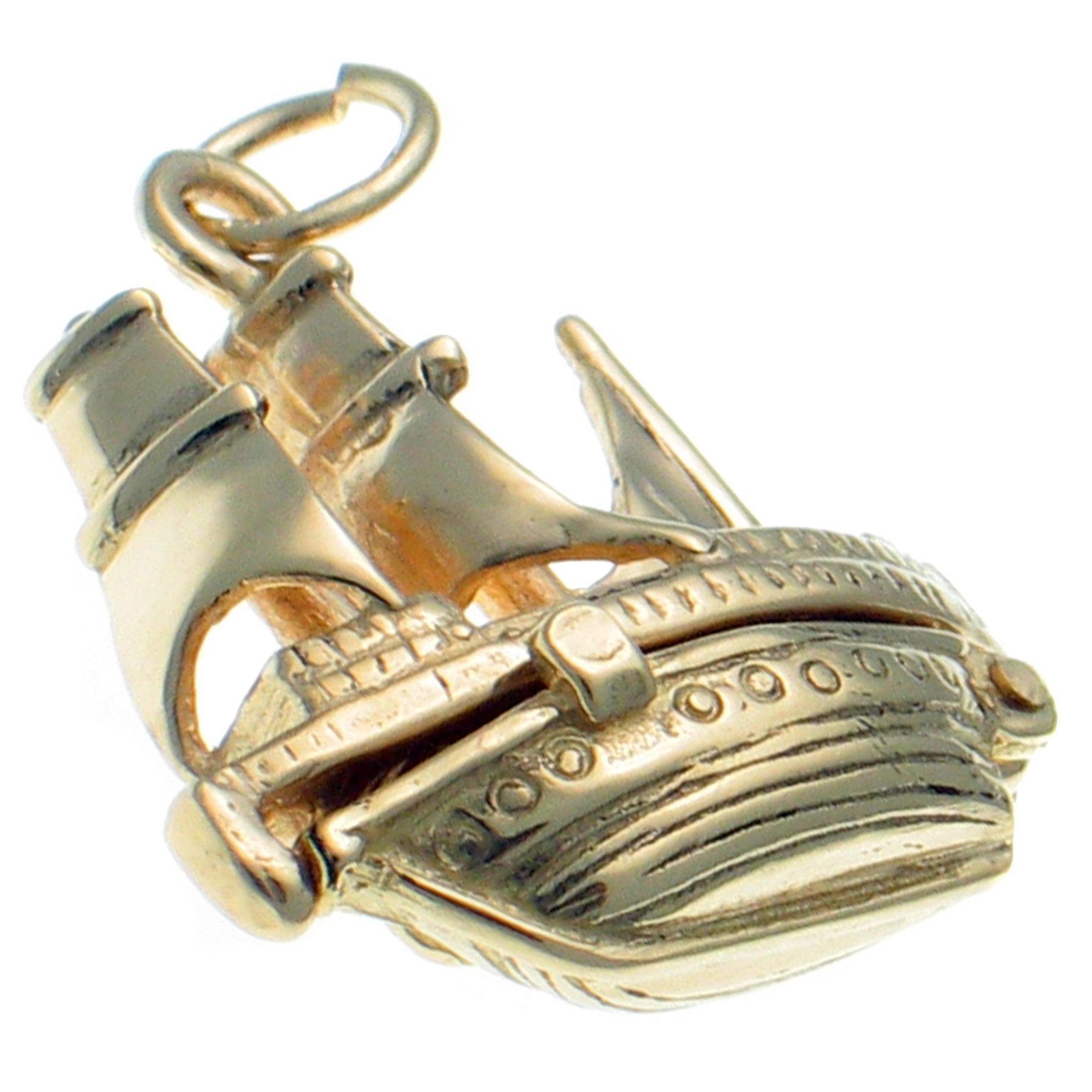 9ct Gold Opening Charm Pendant, Mayflower Ship Opens To Show Anchor & Rope plus Engraving Inside. Handmade by Welded Bliss